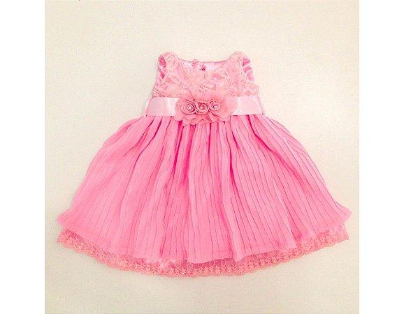 Vestido de Festa Plissado Rosa - Infantil