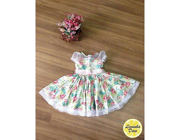 Vestido de Festa Floral - Infantil - Liminha Doce - Vestidos de ... 9ceffe00688