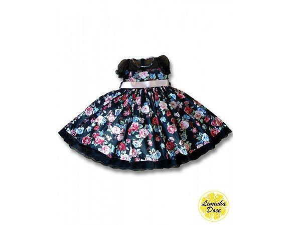 Vestido de Festa Floral Preto - Infantil