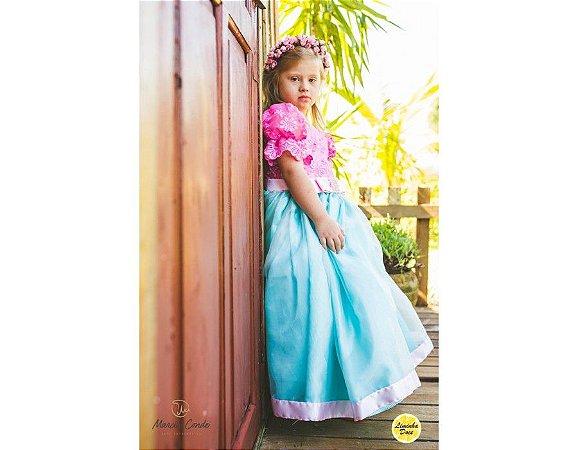 Vestido Barbie Rosa com Azul - Infantil