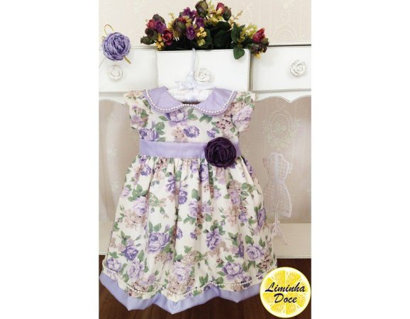Vestido Floral Lilás - Infantil