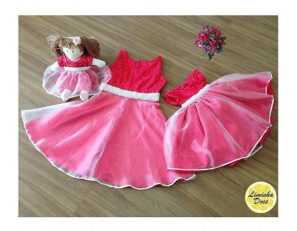 Vestido Rosa de Festa Mãe, Filha Boneca