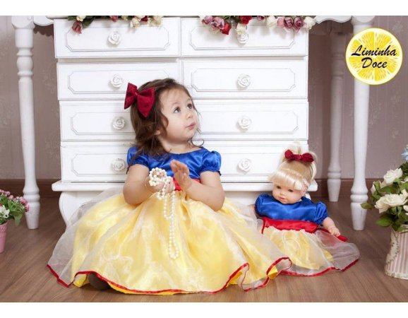 Vestido Branca de Neve - Menina Boneca