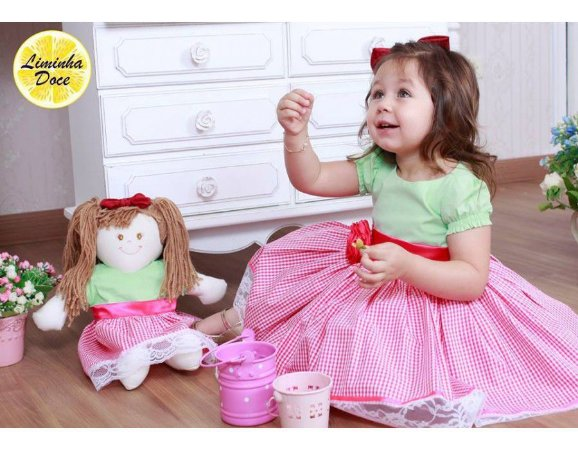 Vestido de Festa Verde e Rosa Xadrez - Menina Boneca