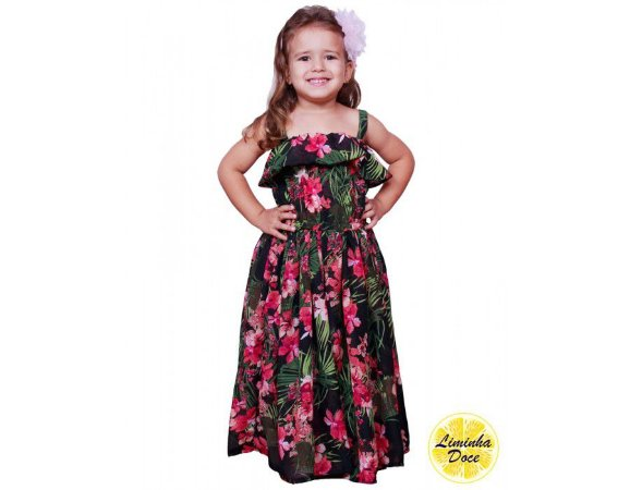 Vestido Longo Preto Floral Rosa - Infantil