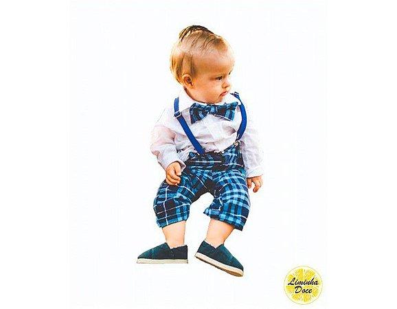 Conjunto de Pajem Xadrez Azul Escuro - Infantil