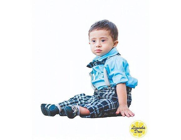 Conjunto de Pajem Xadrez Preto com Azul - Infantil