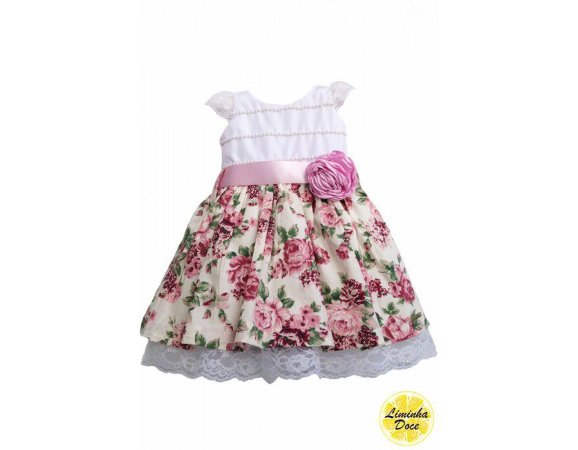 Vestido Branco Floral Rose - Infantil