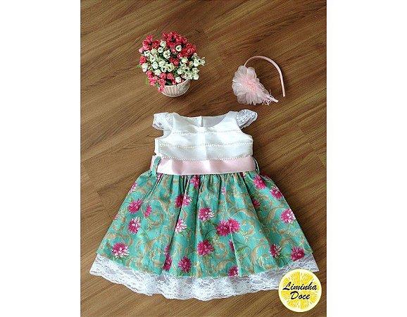 Vestido Branco Floral Verde - Infantil