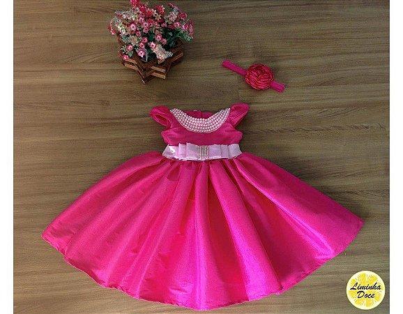 Vestido Rosa Pink com Pérolas - Infantil