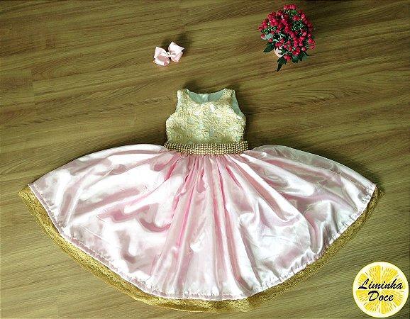 Vestido Renda de Daminha Rosa e Dourado - Infantil
