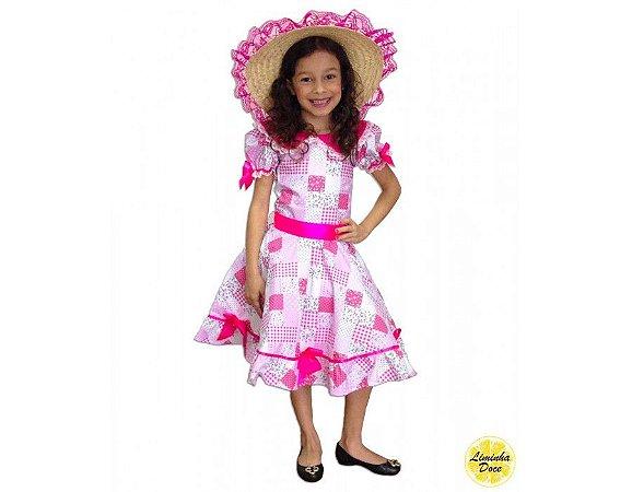 Vestido de Festa Julina Xadrez Rosa - Infantil