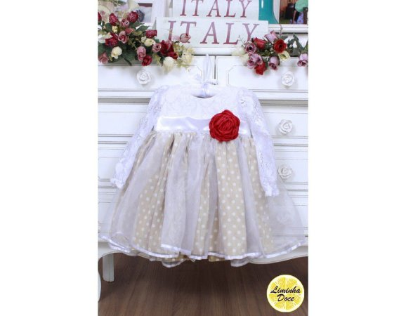 Vestido Branco e Bege - Infantil