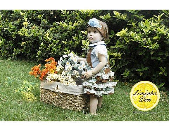 Conjunto de Jardineira com Saia - Infantil