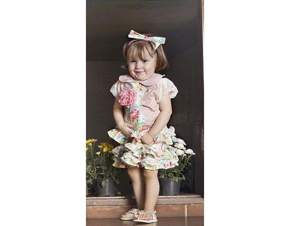 Conjunto de Jardineira Saia Floral - Infantil