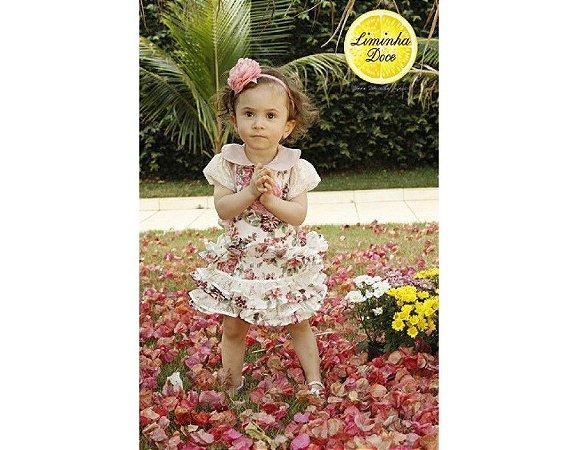 Conjunto de Jardineira Saia Floral Rosa - Infantil