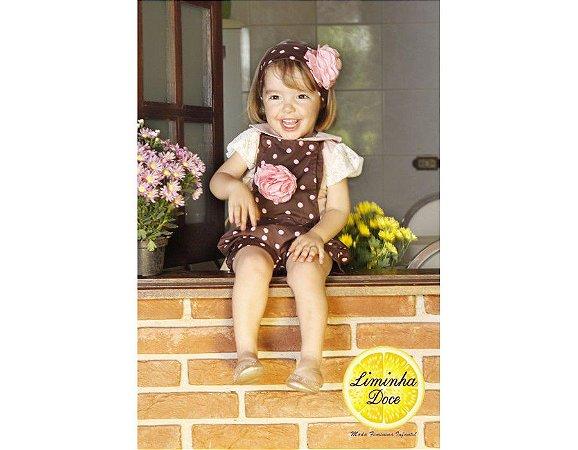 Conjunto de Jardineira Shorts Marrom de Poa Rosa - Infantil