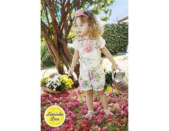 Conjunto de Jardineira Shorts Floral Rosa e Verde - Infantil