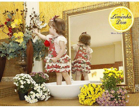 Conjunto Jardineira Saia com Babado Floral Vermelho - Infantil