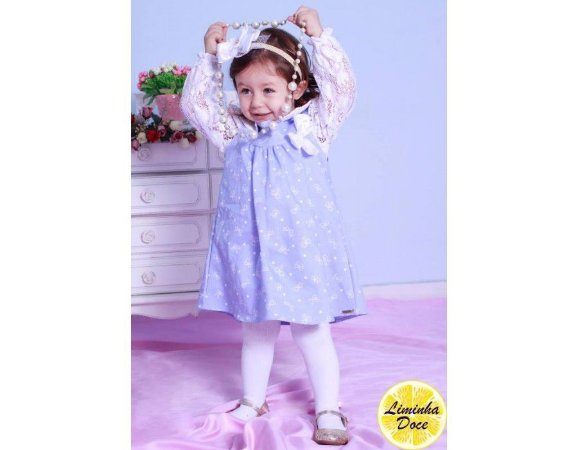 Vestido Jeans e Blusinha de Renda - Infantil