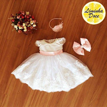 Vestido de Daminha com Tule Francês  - Infantil