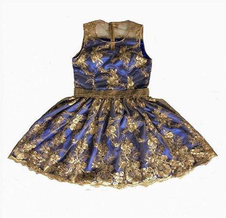Vestido Azul com Dourado - Adulto