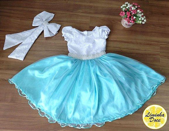Vestido Azul Claro com Renda Branca - Infantil