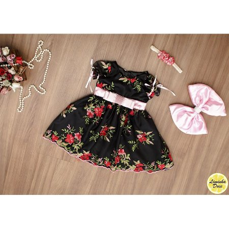 Vestido de Formatura Floral Preto - Infantil