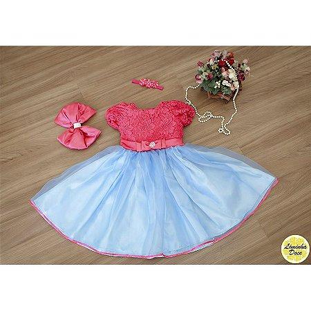 Vestido de Festa Rosa com Azul - Infantil