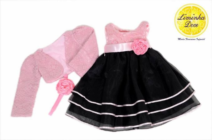 Conjunto Vestido de Renda Rosa e Bolero - Infantil
