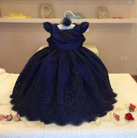 Vestido de Renda Azul Marinho - Infantil
