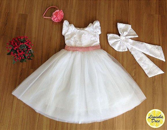 Vestido de Renda e Pérolas Rosa - Infantil