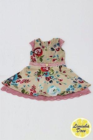 Vestido de Festa Bege Floral Rosa - Infantil
