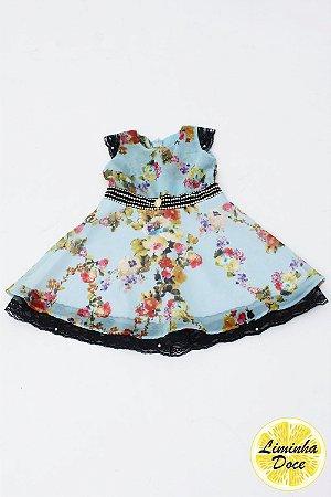 Vestido de Festa Azul Claro com Floral - Infantil