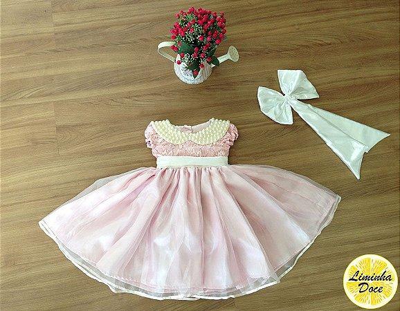 Vestido Social Rosa Claro com Renda - Infantil