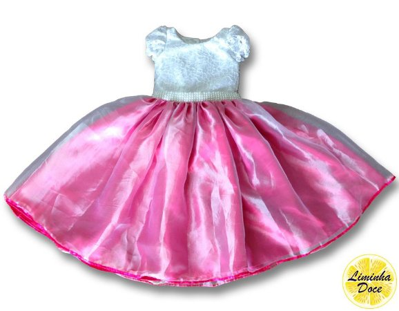 Vestido Social Rosa com Renda Branca - Infantil