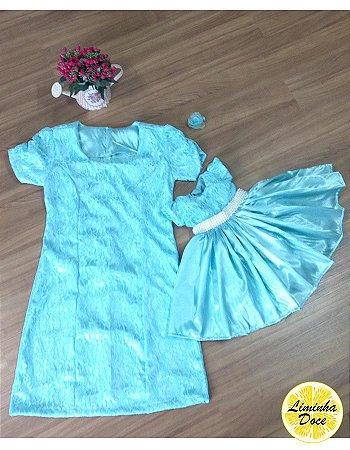 Vestido Social de Renda Azul - Mãe e Filha