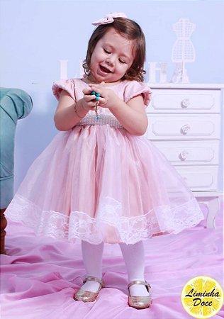 Vestido de Renda Rosa e Pérolas - Infantil