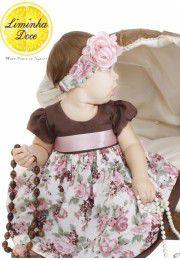 Vestido de Festa Marrom Floral - Infantil