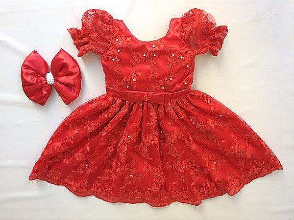 Vestido Vermelho de Renda - Infantil