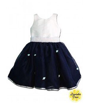 Vestido Branco com Azul Marinho - Infantil