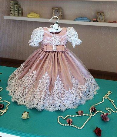 Vestido de Cetim e Renda Rose - Infantil