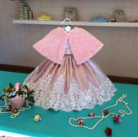 Vestido de Cetim e Renda Rose e Estola - Infantil