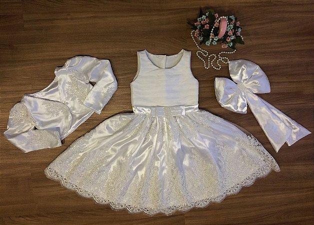 Vestido de Renda Branca e Bolero - Infantil