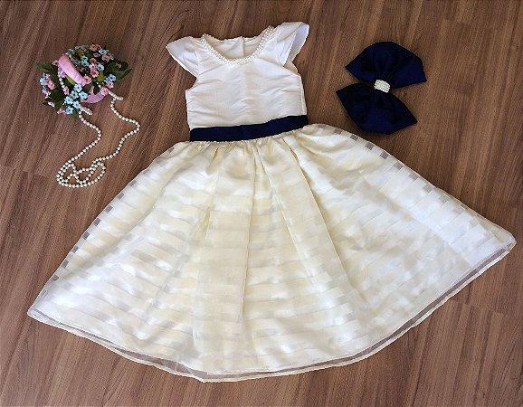 Vestido de Organza Perola Listrada - Infantil