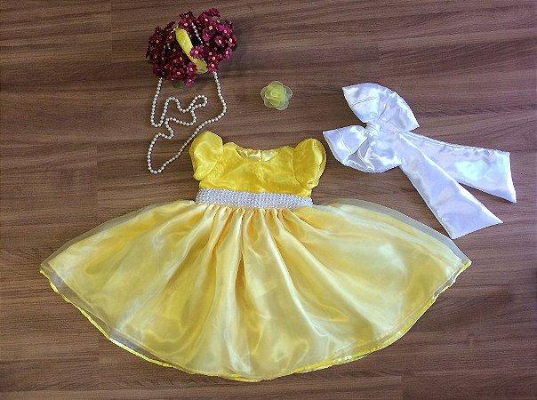 Vestido de Festa Tema a Bela e a Fera - Infantil
