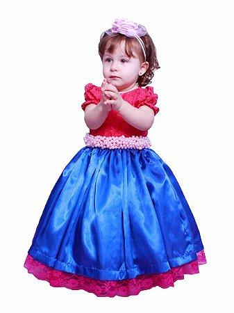 Vestido de Daminha Renda Rosa e Azul - Infantil