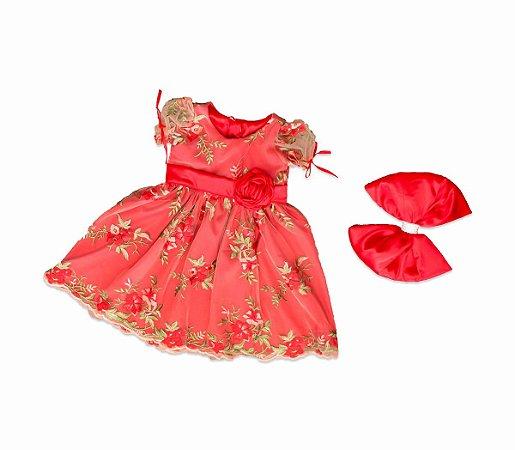 Vestido de Tule Bordado Vermelho Floral - Infantil