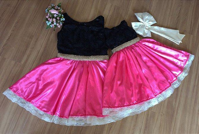 Vestido Preto e Rosa Pink - Mãe e Filha