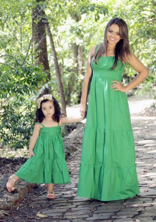 Vestido Longo Verde - Tal Mãe Tal Filha
